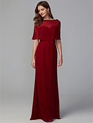cheap -Mermaid / Trumpet Sweetheart Neckline Floor Length Georgette Bridesmaid Dress with Pleats