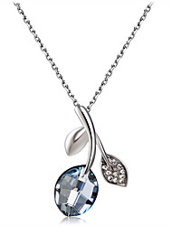 cheap -Women's Blue Crystal Pendant Necklace Classic Leaf Elegant Romantic Fashion Silver-Plated Imitation Diamond Alloy Silver 49 cm Necklace Jewelry 1pc For Party / Evening Daily