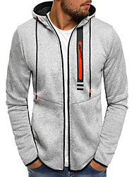 cheap -Men's Hoodie & Sweatshirt Full Zip Black Light Grey Cotton Running Fitness Gym Workout Top Long Sleeve Sport Activewear Thermal / Warm Windproof Breathable Soft High Elasticity / Winter