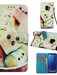 cheap -Case For Samsung Galaxy S9 Wallet / Card Holder / Flip Full Body Cases Food Hard PU Leather