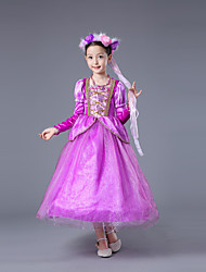 cheap -Sofia Cosplay Costume Flower Girl Dress Kid's Girls' A-Line Slip Dresses Christmas Halloween Carnival Festival / Holiday Tulle Cotton Purple Carnival Costumes Princess