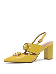 cheap -Women's Patent Leather Fall Heels Chunky Heel Pointed Toe Yellow / Red / Almond / Party & Evening