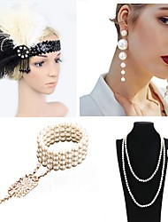 cheap -The Great Gatsby Charleston 1920s The Great Gatsby Costume Accessory Sets Flapper Headband Women's Tassel Costume Head Jewelry Pearl Necklace Black / Blue / Black / Green and Black Vintage Cosplay