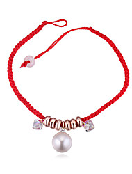 cheap -White Rope Friendship Bracelet - Pearl, Crystal Ball Simple Style, Trendy, Fashion Red For Event / Party Daily Women's