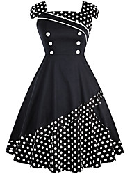 cheap -Audrey Hepburn Vintage Hepburn Dress Women's Costume forehead jewelry Black / Blue / Black / Black & White Vintage Cosplay Daily Wear Dress Party & Evening Sleeveless Short Sleeve Midi Medium Length