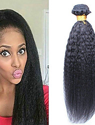 cheap -6 Bundles Brazilian Hair kinky Straight Human Hair Unprocessed Human Hair Headpiece Natural Color Hair Weaves / Hair Bulk Hair Care 8-28 inch Natural Color Human Hair Weaves Waterfall Smooth Extention