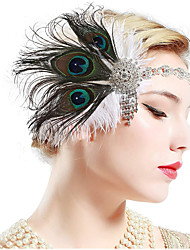 cheap -The Great Gatsby Charleston Vintage 1920s The Great Gatsby Headpiece Flapper Headband Women's Tassel Costume Head Jewelry Black / Green and Black / White Vintage Cosplay Party Prom / Headwear