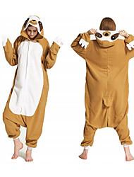 cheap -Adults' Kigurumi Pajamas Sloth Onesie Pajamas Polar Fleece Brown / Yellow Cosplay For Men and Women Animal Sleepwear Cartoon Festival / Holiday Costumes / Leotard / Onesie / Leotard / Onesie