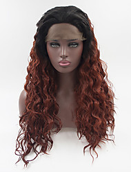 cheap -Synthetic Lace Front Wig Loose Wave Loose Curl Free Part Lace Front Wig Ombre Long Black / Red Synthetic Hair 18-26 inch Women's Adjustable Heat Resistant Elastic Ombre