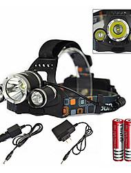 Недорогие -Налобные фонари Водонепроницаемый Перезаряжаемый 6000 lm LED излучатели 1 Режим освещения с зарядным устройством с батарейками и зарядным устройством / Алюминиевый сплав