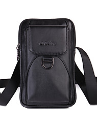cheap -Men's Bags Nappa Leather Mobile Phone Bag Zipper Solid Color Daily Outdoor Black Brown