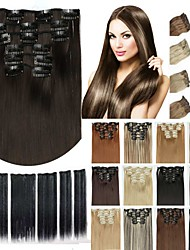 cheap -6pcs/lot 16 clip in hair extension synthetic hair 24 inch long straight hairpiece