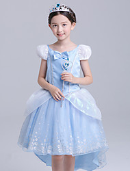 cheap -Princess Cinderella Cosplay Costume Flower Girl Dress Kid's Girls' A-Line Slip Active Halloween Christmas Halloween Carnival Festival / Holiday Silk Organza LightBlue Carnival Costumes Solid Colored