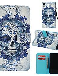 cheap -Case For Apple iPhone XR Wallet / Card Holder / Flip Full Body Cases Skull Hard PU Leather