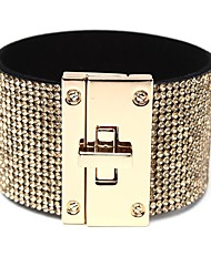 cheap -Women's Clear Wide Bangle Classic Stylish Simple PU Leather Bracelet Jewelry Gold / White / Black For Gift Date / Rhinestone