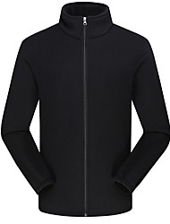cheap -DZRZVD® Men's Hiking Fleece Jacket Winter Outdoor Solid Color Thermal / Warm Windproof Thick Winter Fleece Jacket Top Fleece Full Length Visible Zipper Outdoor Black / Army Green / Blue / Dark Blue
