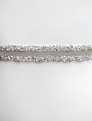 cheap -Poly / Cotton Blend Wedding / Special Occasion Sash With Rhinestone Women's Sashes