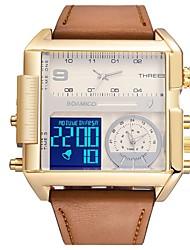 cheap -Men's Sport Watch Digital Watch Digital Leather Black / Brown Water Resistant / Waterproof Calendar / date / day Chronograph Analog Digital Casual Fashion - Silver / Black Gold / White White / Brown