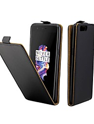 cheap -Case For OnePlus 5 Card Holder / Flip Full Body Cases Solid Colored Hard PU Leather for One Plus 5