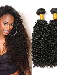 cheap -4 Bundles Indian Hair Kinky Curly Human Hair Unprocessed Human Hair 400 g Headpiece Natural Color Hair Weaves / Hair Bulk Hair Care 8-28 inch Natural Color Human Hair Weaves Adorable New Arrival Hot