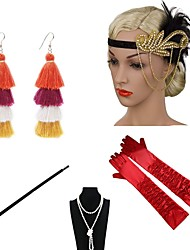 cheap -The Great Gatsby Charleston 1920s The Great Gatsby Costume Accessory Sets Flapper Headband Women's Tassel Costume Head Jewelry Pearl Necklace Black / Golden / Golden+Black Vintage Cosplay / Gloves
