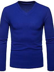 cheap -Men's Daily Basic Solid Colored Long Sleeve Regular Pullover Sweater Jumper, V Neck Fall Black / Light gray / White S / M / L