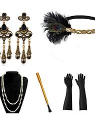 cheap -The Great Gatsby Charleston Vintage 1920s The Great Gatsby Roaring 20s Costume Accessory Sets Gloves Headpiece Flapper Headband Women's Tassel Fringe Costume Head Jewelry Earrings Golden+Black