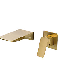 cheap -Bathroom Sink Faucet - Waterfall Gold Other Single Handle Two HolesBath Taps