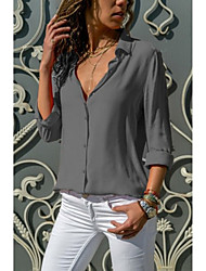 cheap -Women's Daily Basic Cotton Blouse - Solid Colored Deep V Gray / Sexy