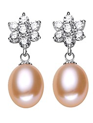 cheap -Freshwater Pearl Earrings Pearl S925 Sterling Silver For Women's Drops Glam Elegant Fashion Gift Date High Quality Flower Snowflake 1 Pair
