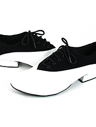 cheap -Men's Modern Shoes / Ballroom Shoes Leather Lace-up Heel / Sneaker Splicing Flat Heel Dance Shoes Black / White / Performance