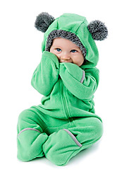 cheap -Baby Boys' Active / Basic Daily Solid Colored Zipper Long Sleeve Romper Green / Toddler