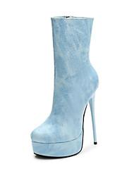 cheap -Women's PU(Polyurethane) Fall & Winter Casual Heels Stiletto Heel Mid-Calf Boots Blue / Pink / Almond