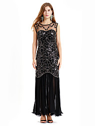cheap -The Great Gatsby Charleston Vintage 1920s Flapper Dress Dress Women's Sequin Costume Black / Golden+Black Vintage Cosplay Party Homecoming Prom Sleeveless Long Length