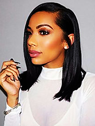 cheap -Remy Human Hair Lace Front Wig Side Part Kardashian style Brazilian Hair Yaki Straight Natural Wig 130% 150% 180% Density 8-24 inch Natural Best Quality Hot Sale Thick with Clip Women's Medium Length