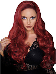 cheap -Synthetic Wig Synthetic Lace Front Wig Wavy Body Wave Middle Part with Baby Hair Lace Front Wig Long Burgundy Synthetic Hair 26 inch Women's Soft Adjustable Heat Resistant Red Modernfairy Hair