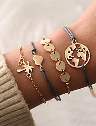 cheap -Men's Women's Layered Handmade Link Bracelet - Maps, Heart Vintage, Bohemian, Fashion Bracelet Gold For Gift Birthday / 4pcs