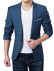 cheap -Men's Daily / Work Spring / Fall Plus Size Regular Blazer, Solid Colored V Neck Long Sleeve Acrylic / Polyester Dark Blue / Gray / Wine / Business Formal / Slim
