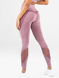 cheap -Women's High Rise Patchwork See Through Yoga Pants Solid Color Mesh Zumba Fitness Gym Workout Tights Activewear Butt Lift Tummy Control Power Flex High Elasticity Slim