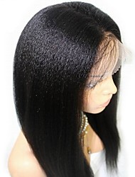 cheap -Remy Human Hair Full Lace Wig Layered Haircut style Brazilian Hair Yaki Straight Black Wig 130% Density with Baby Hair Natural Hairline Unprocessed 100% Hand Tied Women's Long Human Hair Lace Wig