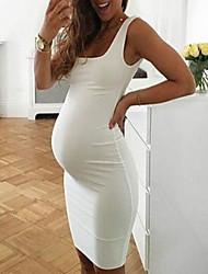cheap -Women's Maternity Daily Elegant Midi Sheath Dress - Solid Colored White Blue S M L XL