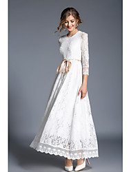 cheap -A-Line Jewel Neck Ankle Length Lace Elegant Wedding Party Dress 2020 with Sash / Ribbon