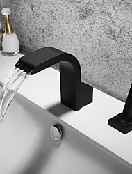cheap -Bathroom Sink Faucet - Waterfall / Widespread / New Design Black Widespread Single Handle Two HolesBath Taps