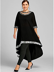 cheap -Women's Swing Dress Midi Dress 3/4 Length Sleeve Solid Color Clothing Spring & Summer Plus Size Casual 2021 White Black Blue Wine Navy Blue S M L XL XXL 3XL 4XL 5XL