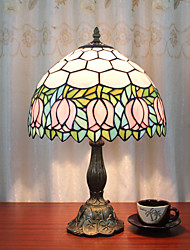 cheap -12 Inch Desk Light Artistic/Pink Tulip Tiffany Ambient Lamps Decorative Lovely Table Lamp For Indoor Bedroom Resin 110-120V 220-240V 40W*1 Bulb Not Included
