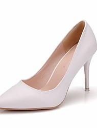 cheap -Women's PU(Polyurethane) Spring &  Fall Minimalism Wedding Shoes Stiletto Heel Pointed Toe Crystal White