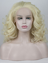 cheap -Synthetic Lace Front Wig Curly Free Part Lace Front Wig Blonde Short Light golden Synthetic Hair 12-16 inch Women's Adjustable Lace Heat Resistant Blonde