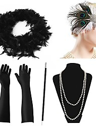 cheap -The Great Gatsby Charleston 1920s The Great Gatsby Costume Accessory Sets Flapper Headband Women's Tassel Costume Head Jewelry Pearl Necklace Black / Red / black / Green and Black Vintage Cosplay