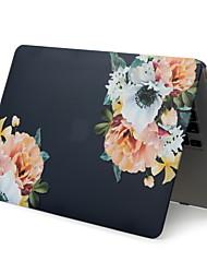 abordables -pour ordinateur portable macbook pro air 11-15 2018 2017 2016 publié a1989 / a1706 / a1708 avec bande tactile, motif en PVC, coquille dure, fleur noire