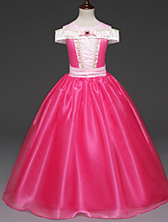 cheap -Princess Aurora Cosplay Costume Flower Girl Dress Kid's Girls' A-Line Slip Dresses Christmas Halloween Carnival Festival / Holiday Tulle Cotton Fuchsia Carnival Costumes Princess
